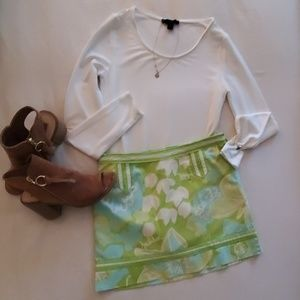 Lilly Pulitzer mini skirt jubilee green blue white